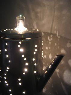 old percolater repurposed as lamp