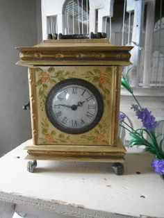 antiqued vintage clock floral clock shabby chic old by ShabbyRoad, $26.00