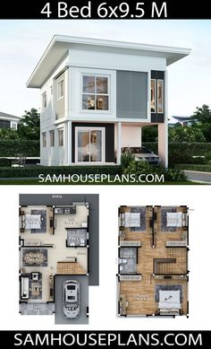 House Plans Idea with 4 bedrooms - Sam House Plans - Architecture Sims House Plans, House Layout Plans, Family House Plans, Craftsman House Plans, Dream House Plans, House Layouts, Small House Plans, My Dream Home, Two Story House Design