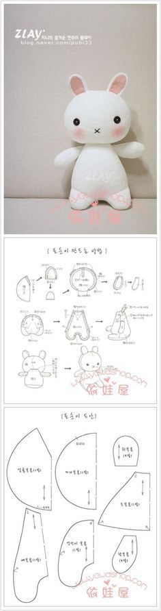 DIY pattern rabbit bunny doll, this would be a cute little doll for a child. It would be even easier to make if it were in English!