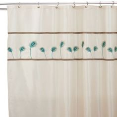 Aurora 72 x 72 Ivory and Blue Shower Curtain - Bed Bath & Beyond New Bathroom Ideas, Small Bathroom, Pretty Shower Curtains, Guest Room Office, Metallic Thread, Guest Bath, Bed & Bath, Cottage Chic, Aurora