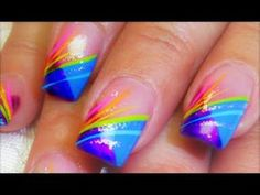 Try this beautiful mani french tip in rainbow . A perfect beginner Nail Design Tutorial for striping brushes at my shopif. Wild Nail Designs, Striped Nail Designs, Cute Nail Designs, Nail Art Stripes, Striped Nails, Bright Nails, Neon Nails, Beginner Nail Designs, May Nails