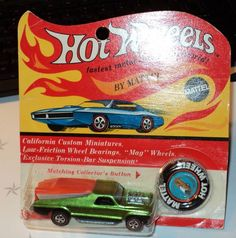 1970 REDLINES HOT WHEELS SEASIDER ORIGINAL CANDY APPLE GREEN BLISTER MINT O CARD #HotWheels