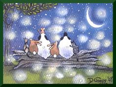 "Firefly Dance"" A Print by Deborah Gregg  On a warm summer night a group of friends from the pasture gather to watch the firefly dance. The rabbits,"