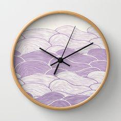 The Lavender Seas Wall Clock by Pom Graphic Design  - $30.00 #wallclock #homedecor #decor #accentdecor #seawaves #waves #nautical #nauticaldecor #lavender #lilac #clock #forthehome