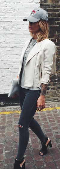White Fringed Jacket Casual Streetstyle by Caroline Receveur & Co