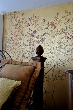 Golden wall finish and handpainted wall paper