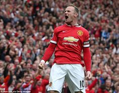 Wayne Rooney celebrates his first goal of the Louis van Gaal era as Manchester United captain
