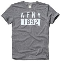 Abercrombie & Fitch Logo Graphic Tee (250 ZAR) ❤ liked on Polyvore featuring men's fashion, men's clothing, men's shirts, men's t-shirts, heather grey, vintage mens shirts, j crew mens shirts, mens crew neck t shirts and men's vintage t shirts