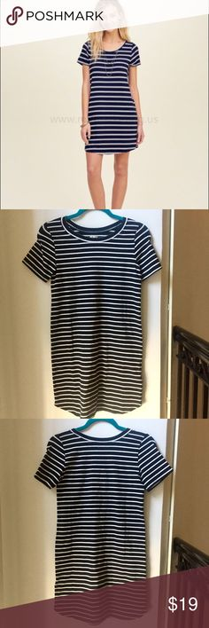 Hollister striped shirt dress New with tags! Black and white knit tshirt dress. Hollister Dresses Midi