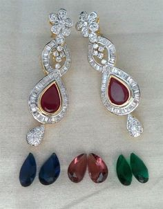 Simulated Cubic Diamond Designers Changeable Earring Set Gold Plated 126 46E #DNJ #Chandelier