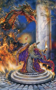 Fantasy painting by Myles Pinkney of a wizard with a glowing staff, long purple robes and a floating book, holding a fire dragon in his hand.