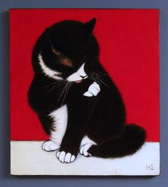 Tuxedo cat original oil painting. Charlie still Cleaning Up by Heidi Shaulis