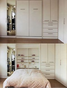 Murphy bed with shelves.