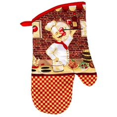 Home Collection Chef-Themed Cotton Oven Mitts, 13 in.