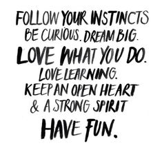 Follow Your Instincts Be Curious Dream Big Love What You Do Love learning Keep An Open Heart & A Strong Spirit Have Fun