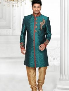 Attractive Teal Green Brocade Art Silk Readymade Indo Western