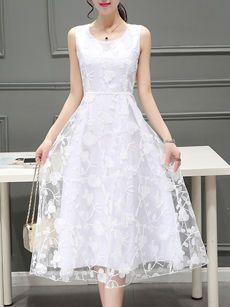 Round Neck  Embroidery Plain Midi Skater Dress