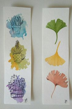 Set of two hand painted watercolor bookmarks. These are original watercolor painting, not a print! Two different botanical watercolors, three Gingko leaves and a fern. Watercolor Bookmarks, Watercolor Projects, Watercolour Tutorials, Watercolor Cards, Watercolor Flowers, Creative Bookmarks, Diy Bookmarks, Sketch Painting, Art Sketchbook