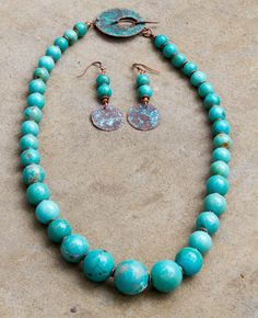 Turquoise and Copper Set  Necklace and by ElliottClaireJewelry, $118.00