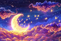 Moon-fairy-flying-clouds-BG-glowing-fantasy-theme- - Moon light and stars night background with trees nature art images . Ciel Nocturne, Beautiful Moon, Beautiful Images, Anime Scenery, Art Graphique, Moon Art, Galaxy Wallpaper, Stars And Moon, Sky Moon