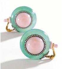 Chrysoprase cabochon pink opals. JAR