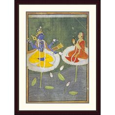 Global Gallery 'Krishna and Tadha Enthroned' by Mankot Framed Painting Print Size: