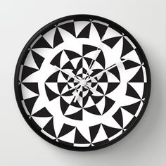 Black and White Kaleidoscope Pattern Wall Clock by Dpat Designs - $30.00