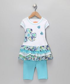 Take a look at this Sweet Potatoes Blue Tunic & Leggings - Infant, Toddler & Girls by Sweet Potatoes on #zulily today!