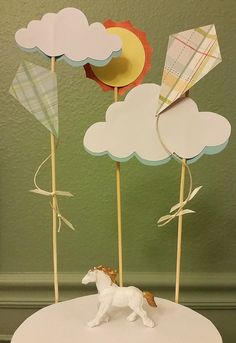 Kites and Clouds Cake Topper by BlueberryAndStache on Etsy