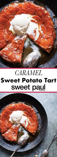 A simple and delicious tart created from crisp puff pastry and sweet potato slices smothered in a warm caramel sauce.