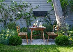 little seating area in backyard, pea gravel and grass
