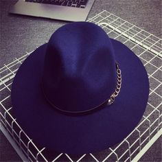 Nice Vintage Style Wool Wide Brim Fedora Hats for Women w/Chain Accent 8 Color Options