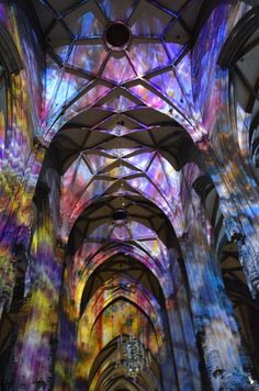 Magical... St.Stephen's Cathedral in Vienna lit with stained glass