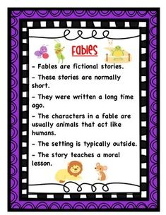 This anchor chart includes elements of fables and images of popular fables. You can put this under a document camera when introducing fables. Then display this in your room after your unit on fables to use as a reference.Check out a simpler version of this anchor chart in my store.