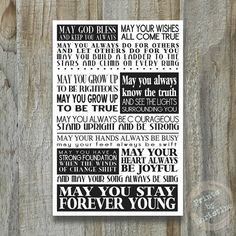 Forever Young Print Song Lyrics Bob Dylan Subway Art Typography Large Poster Modern Art Graduation Gift Teen 12x18 11x14 on Etsy, $32.00