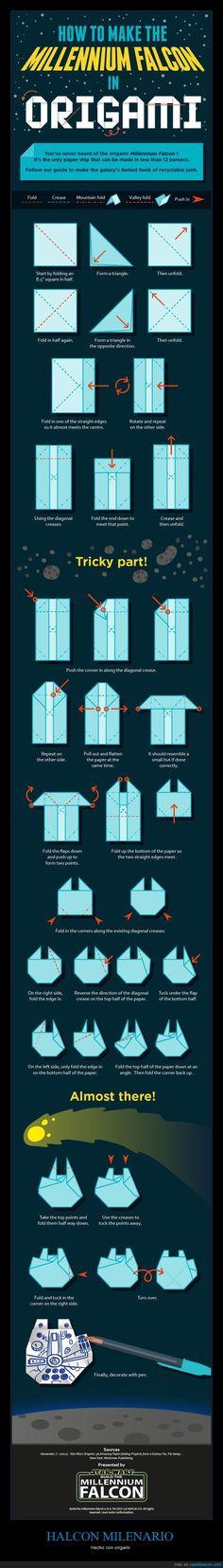 Te explicamos cómo construir el Halcón Milenario con papel - Hecho con origami
