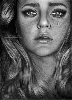 "I lost my hope along the way "" I can't remember a better day One without giving up "" Koh-I-Noor pencils a white gel pen; photo by Cristina Otero. Girl Faces, Sad Faces, Tumblr Drawings, Easy Drawings, Crying Eyes, Pencil Drawings Of Girls, Portraits, Drawing People, People Drawings"
