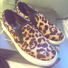Mia calf hair leopard sneakers. Leather and calf hair upper. Rubber sole. They are super cute, flattering and comfy. Used but in very good condition. Shoes Sneakers