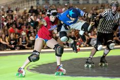1. Co-ed roller derby and 2. HOLY APEX JUMP, BATMAN! Team Awesome vs. Team Sexy at Rollercon. Photo by Sharkey.