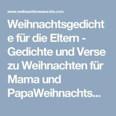 Weihnachtsgedichte für die Eltern - Gedichte und Verse zu Weihnachten für Mama und PapaWeihnachtswuensche.com