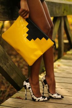 The Love,Cortnie 'Glossy' clutch with cow print heels   via The Daileigh: Sealed With A Print