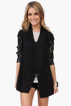 Leather Knit Cardigan in Black
