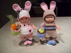 "Berenguer 5"" Baby Dolls - Boy and Girl bunny #17 More can be seen on Pinterest under Jana Langley Berenguer 5"" Dolls with crocheted outfits"