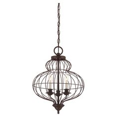 Cast an inviting glow in your entryway or den with this eye-catching pendant, showcasing a cinched cage design and an antique bronze finish.