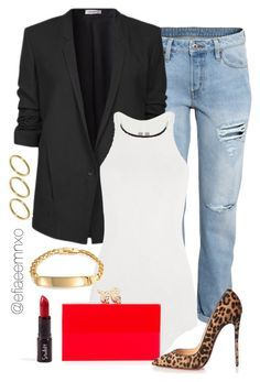 """""""Preppy Chic"""" by efiaeemnxo ❤ liked on Polyvore featuring H&M, Helmut Lang, Rick Owens, Bling Jewelry, ASOS, Charlotte Olympia, Christian Louboutin, women's clothing, women and female"""