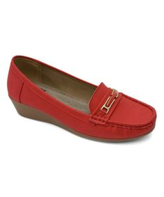 Red Buckle Wedge Moccasin