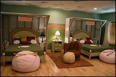 Baseball themed bedroom...we can dream! (baseball beanbag for stuffed animals)