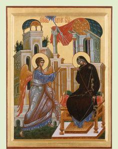 Благовещение Пресвятой Богородице Religious Icons, Religious Art, Greek Icons, Byzantine Icons, Orthodox Christianity, Orthodox Icons, Fresco, Mosaic, Religion