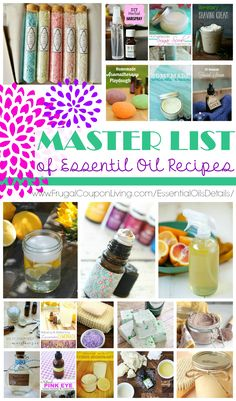 The Absolute Best of DIY Essential Oil Recipes Master List of Essential Oil Recipes – Some of the best recipes using essential oils on Frugal Coupon Living. List Of Essential Oils, Essential Oil Uses, Young Living Essential Oils, Lemy Beauty, Mac Cosmetics, Limpieza Natural, Aromatherapy Recipes, Aromatherapy Oils, Living Oils
